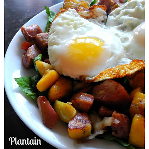 Plantain Apple Chicken Sausage Breakfast Hash {Paleo}