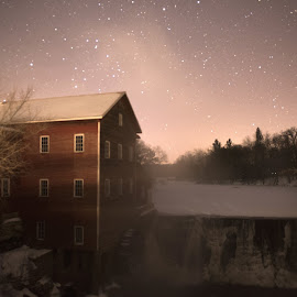 Augusta Mill by Peter Stratmoen - Buildings & Architecture Decaying & Abandoned ( wisconsin, mill, starlight, nikon, frozen, river )