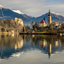 Lake Bled by Aleksandra Jereb - Landscapes Waterscapes ( winter, januar, slovnia, 2016, bled, lake, jezero, lake bled )