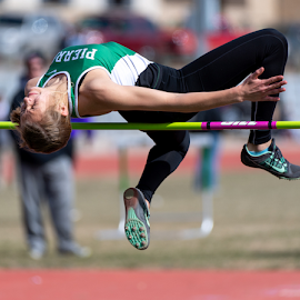 Leap of Faith by Bob Grandpre - Sports & Fitness Running ( woman, legion relays, track and field, high jump, track )