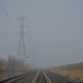 Foggy Tracks by Rob Kovacs - Transportation Railway Tracks