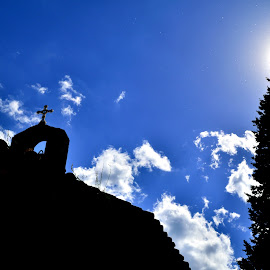 by Octavian Marius Rusu - Buildings & Architecture Places of Worship ( blue sky, sky, church, blue, sun, cross,  )