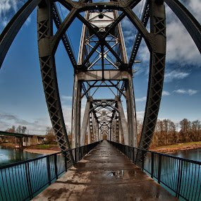 steel bridge by Kelvin Watkins - Buildings & Architecture Architectural Detail ( sky, blue, pwcdetails, steel, concrete )