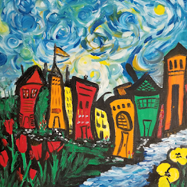 Trip to Town  by Rhonda Lee - Painting All Painting ( bright, colorful, fun )