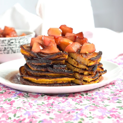 Pumpkin Pancakes with Apple Red Wine Topping