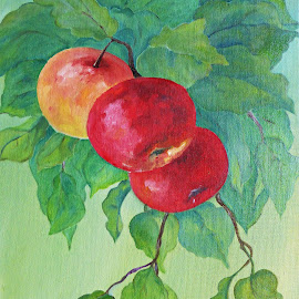 by Amas Art - Painting All Painting ( red, tree, apple, green, summer )