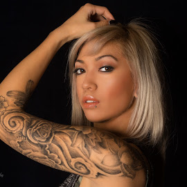 MY ink by Blair Douglas - People Body Art/Tattoos ( face, yyc, model, gorgeous, tattoos, black ace photography, close up, pretty, portrait, eyes, ink )