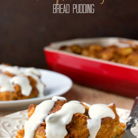 Pumpkin Orange Bread Pudding with Cream Cheese Glaze