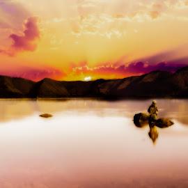 Fishing on Oishi lake by Sơn Hải - Digital Art People ( water, ray, japan, mountain, sky, cloud, rock, lake, fishing, sunrise, people )