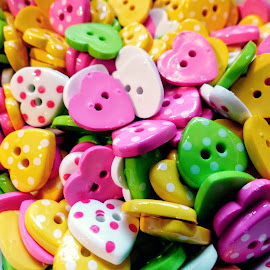Colourful Heart Shapes  by Ian Popple - Abstract Patterns ( abstract, patterns, plastic, colourful, heart shapes, artistic )