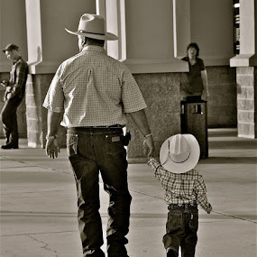 The Rodeo by Jamie Myers - People Family ( child, grandfather, family, black & white )