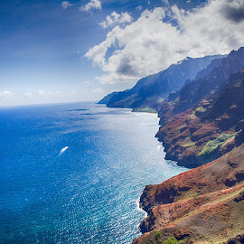 Na Pali Coast by Brandon Beadel - Landscapes Travel ( helicopter, kauai, mountains, na pali, na pali coast, wonder, aerial, air, ocean, beach, coast, hawaii )