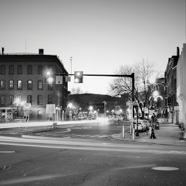 Downtown Greenfield Ma. by Monroe Phillips - Black & White Street & Candid