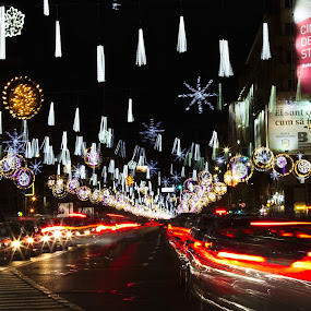Busy city by Nicu Buculei - Public Holidays Christmas ( lights, xmas, christmas, long exposure, night, city,  )