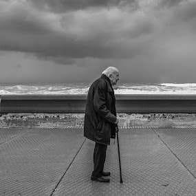 Old Man and the Sea. by Yakov Zak - Black & White Street & Candid