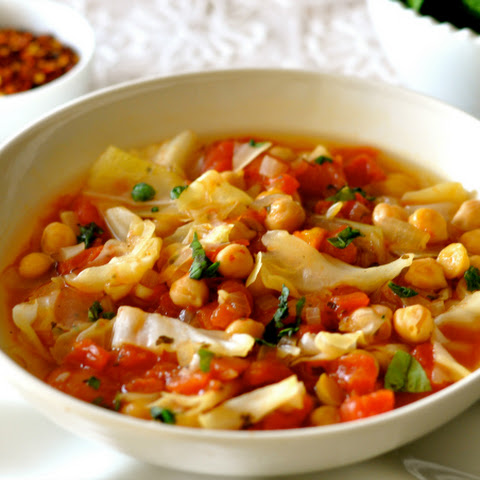 Chickpea Soup with Cabbage and Tomatoes
