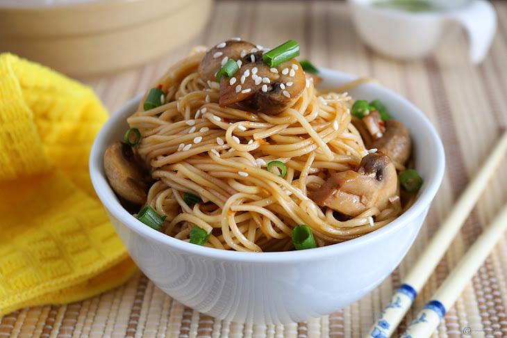 Sesame Chilli Mushroom Noodles Recipe   Yummly