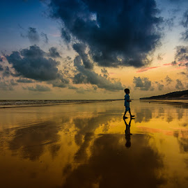 Reflected Glory!! by Jayanta Basu - Landscapes Travel ( reflection, sky, sea, beach, boy,  )