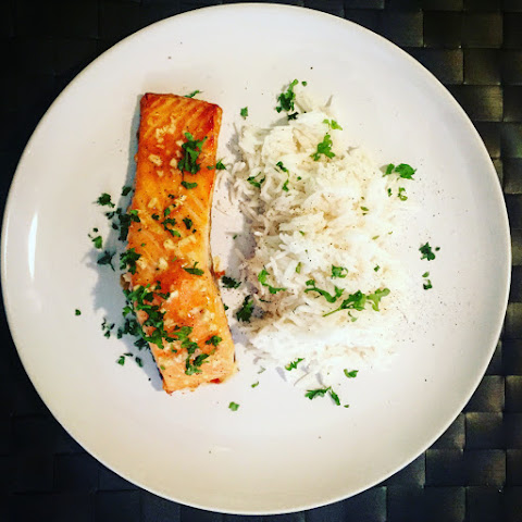 Honey Mustard Baked Salmon with Rice