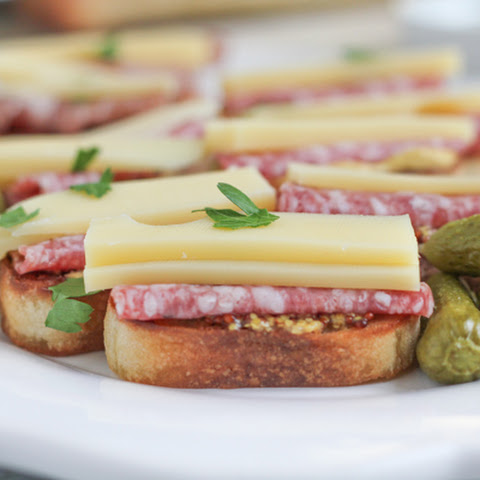Salami and Emmentaler Cheese Crostini with Maille Dijon Mustard