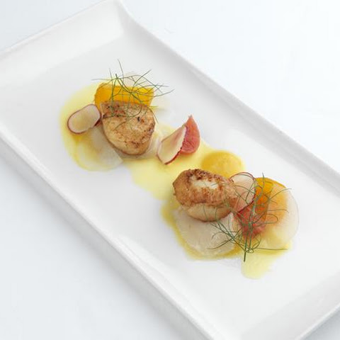 Scallops, Ceviche, Radish, Sharon Fruit