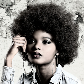 Deep in Thought by Mandy Hedley - People Portraits of Women ( model, white, thoughtful, afro, black,  )