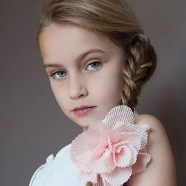 Flower Girl by Anthony Wood - Babies & Children Child Portraits ( girl, braid, plaits, portrait, flower )