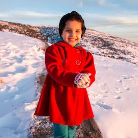 Snow Princess by Omar Dakhane - Babies & Children Children Candids ( child, red, girl, snow, children, algeria, africa, people, human, kid )
