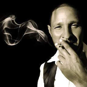 Smoke by Chelsea Vermaak - People Portraits of Men ( smoking man, black and white, smoke, man )