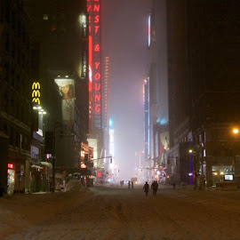 7th Ave toward Time Sq by Ross Bolen - City,  Street & Park  Street Scenes ( times square, snow, new york city )