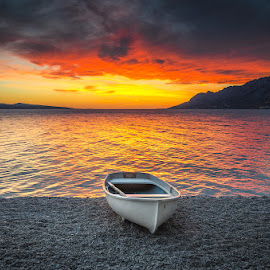 Stranded boat in sunset.. by Mario Španjić - Transportation Boats ( sea, beach, boat )
