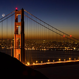Golden Gate Moonrise by Lee Molof - Buildings & Architecture Bridges & Suspended Structures