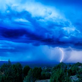 Summer Monsoon 3 by Matthew Kuiper - Landscapes Weather ( lightning, rain, desert storm, weather, clopuds )
