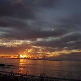 by Kim Edmonds - Landscapes Weather ( water, grey, beach, sunrise, gold,  )