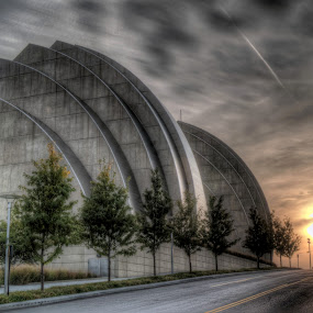 Kauffman Performing Arts Center Sunset by David Shayani - Buildings & Architecture Architectural Detail ( different, olympus e300, street, road, sun, photography, four thirds, picasa photo editor, clouds, orange, building, structure, hdr, green, silver, midwest, overcast, high dynamic range, kauffman performing arts center, photomatix pro, united states of america, city scape, north america, sunset, neat, trees )