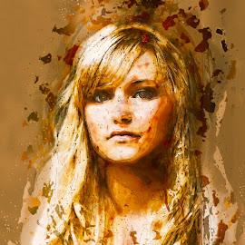 Gaze by Todd Wallarab - Digital Art People ( blonde, girl, woman, lady, brown, pretty )