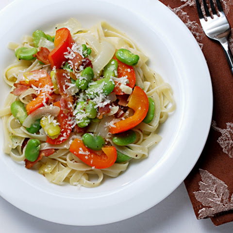 Fettuccine with Fava Beans, Red Bell Pepper and Bacon