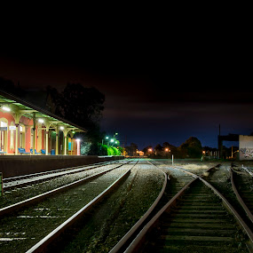 Queanbeyan Railway Station by Adz King - Landscapes Starscapes ( lights, rail, night, tracks, trains )