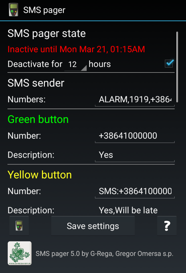 SMS Pager PRO Screenshot 2
