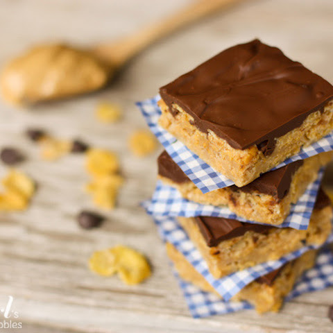Mom's Peanut Butter Cereal Bars with {the best} Chocolate Frosting