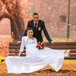 wedding on an autumn day by Chris Garamvölgyi - Wedding Bride & Groom ( playful, pair, beauty, yellow, husband, romance, people, photography, photooftheday, love, nature, autumn, wedding day, weddings, family, lifestyle, embrace, couple, rings, men, bride, smiling, wheat, wedding photography, elegance, male, beautiful, happiness, fun, adult, women, portrait, human, picture, relationship, field, picoftheday, two, female, dress, wife, sunset, wedding, outdoor, view, groom )
