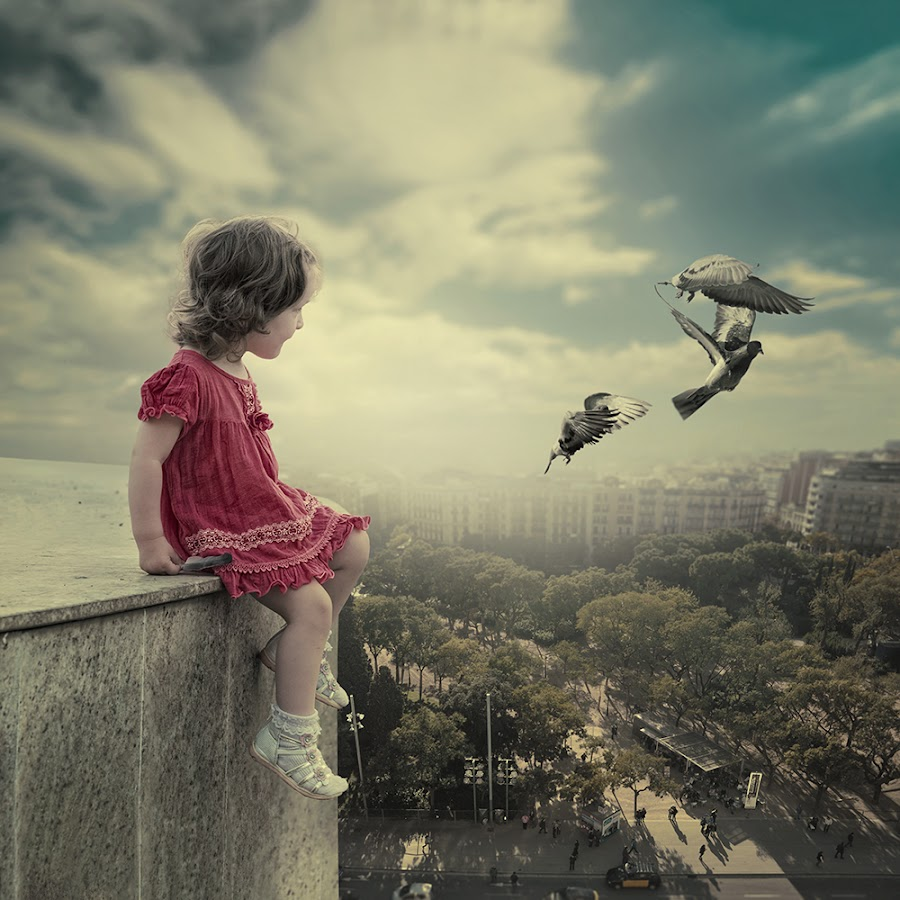 The observer by Caras Ionut - Digital Art People ( ioana, paper, land, children, writing, rock, landscape, birds, sun, city, psd, mounting, poem, light, top, clouds, hill, building, tutorials, letter, cliff, beautiful, observer, manipulation, dove, roof, fly )