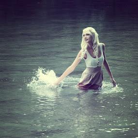 Splashing everywhere by Tina Balgavi - People Portraits of Women ( water, blonde, girl, splash,  )