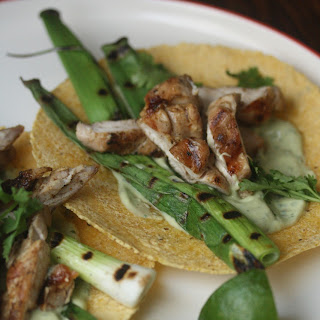 Lime-Marinated Chicken Tacos with Grilled Scallions and Crema