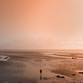 looking for silence by Thoriq Naufal - Digital Art Places ( sunrise, moody, beach, sunset, folk,  )
