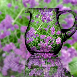 Lavender flowers by Paula Palmer - Digital Art Abstract ( arrangement, flora, digital art, lavender, flowers )