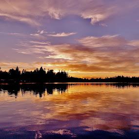 Lake Sawyer Sunset by Sara Swanson - Landscapes Sunsets & Sunrises