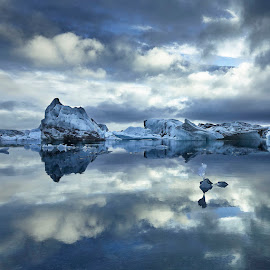 Iceberg Reflections  by Fokion Zissiadis - Landscapes Waterscapes ( iceland lagoon iceberg sky clouds )
