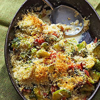 Brussels Sprouts Casserole with Pancetta and Asiago Cheese