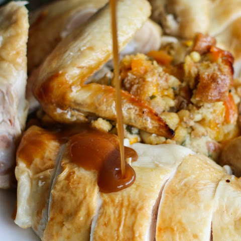 Easy Roast Chicken with Apricot Pinenut Stuffing
